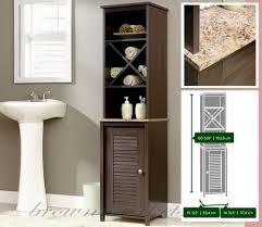 bathroom storage cabinet tall linen tower wood cupboard shelves