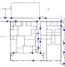 different floor plans beacon locations as output on two different floor plans provided as