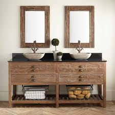 Benoist Reclaimed Wood Double Vessel Sink Vanity Pine Bathroom - Bathroom vanities double vessel sink