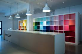 Fun Desks Fun Use Of Shelving Love The Bright And Colorful Backdrop