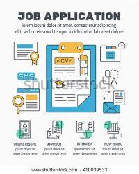 flat line illustration design job application stock vector