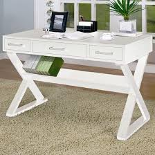 White Modern Desk Casual 3 Drawer Desk With Criss Cross Legs Furnish Your Needs