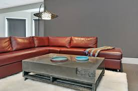 Basement Media Room Red Leather Sectional Living Room Contemporary With Basement Media