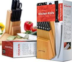 Wood Carving Kitchen Knife by Utopia Kitchen 12 Knives Set With Wooden Block 430 Grade