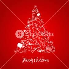 christmas tree made of cartoon holiday symbols royalty free stock