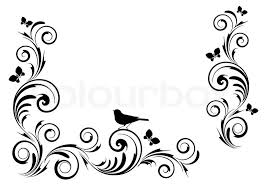 angle vignette with ornament and birds stock vector colourbox
