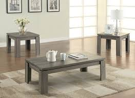 transitional style coffee table coaster 701686 3 pc weathered grey finish wood transitional style