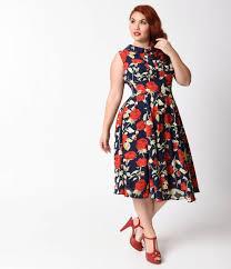 unique vintage plus size 1940s navy blue u0026 red rose sleeveless
