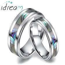 wedding bands for couples of pearl inlaid tungsten wedding bands set for women and