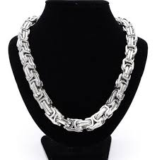 silver byzantine chain necklace images Best quality silver stainless steel necklace heavy huge 12mm 24 jpg