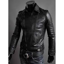 black motorbike jacket mens faux leather moto jacket biker slim fit jacket men