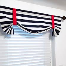 nautical tie up valance navy blue white red lined curtain custom