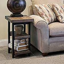 black and tan hamilton narrow wood top c table accent end tables glass metal wood end tables bed bath beyond