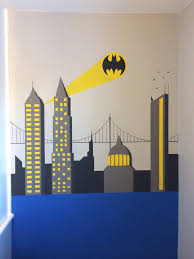 Bedroom Wall Graphic Design Batman Wall Painting Superhero Themed Bedroom For My 5yr Olds