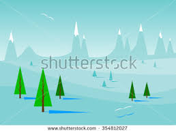 blue landscape rocks clouds snowdrifts firtrees stock vector