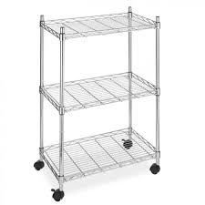 Bakers Rack Shelves New Wire Shelving Cart Unit 3 Shelves W Casters Shelf Rack Wheels
