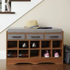 amazon com household essentials entryway shoe storage bench with