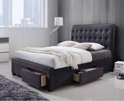 zara dark grey fabric 4 drawer modern storage bed