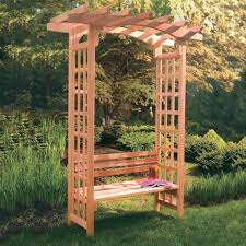 arboria astoria 7 ft cedar pergola arbor with bench from