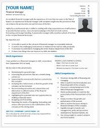 Finance Manager Resume Format Financial Resume Template A Resume Template For A Director Of