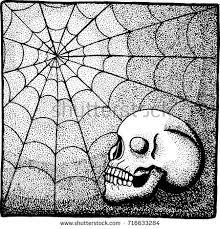 skull spiderweb background vector illustration stock