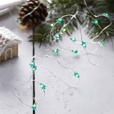 festive mini tree shaped string lights rustic