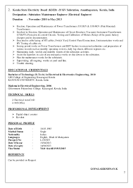 Example Resume For Maintenance Technician by Electrical Engineer Cv