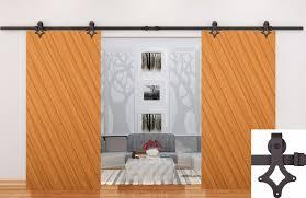 12ft modern black barn door sliding track rail double door hanger