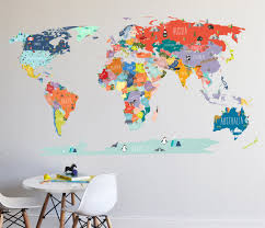 kid friendly large colorful world map wall decals stickers world map interactive map wall decal