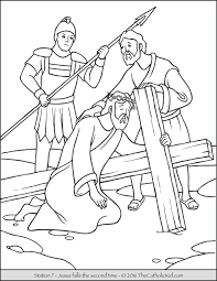 stations of the cross coloring pages 7 jesus falls the second
