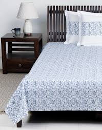 buy fabindia nouri cotton printed bed sheet blue online fabindia com