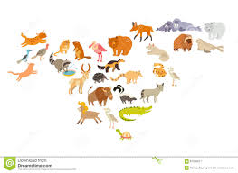 World Map For Kids Animals World Map North America Colorful Cartoon Vector