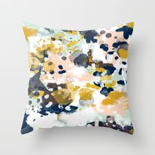 sloane abstract painting in modern fresh colors navy mint