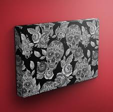 ink rags signature sugar skull gallery wrapped canvas ink and rags