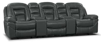 home theater seating sectional leo leath aire fabric 5 piece reclining home theatre sectional