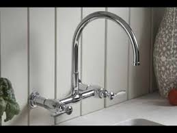 wall kitchen faucet kohler wall mount kitchen faucet youtube