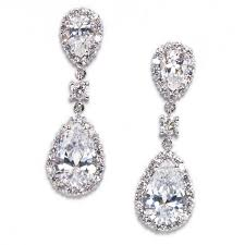 wedding jewelry keirsten pear shape cubic zirconia statement earrings bellagio