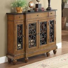 Hallway Accent Table Metal Decorative Chest Accent Tables With Unique Design Brown