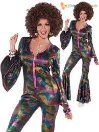 1970s Hairstyles Men by Ladies Mens 1970s Disco Fancy Dress Jumpsuit Shirt Psychedlic