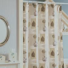 Green And Brown Shower Curtains White And Beige Fabric Curtains With Brown Leaves On White Hook Of