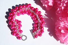 pink pearl bracelet images Hot pink pearl chunky bracelet diyas jewel box jpg
