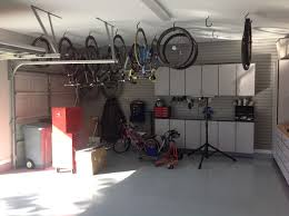 example of hanging bikes in garage ceiling with hooks ceiling