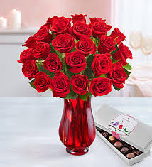 Red Flowers In A Vase Red Roses Buy 12 Get 12 Free 1800flowers Com 91790