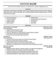 Marketing Coordinator Resume Sample by Enchanting Admin Coordinator Resume 22 In Resume Examples With