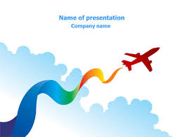 airplane illustration powerpoint template backgrounds 07917