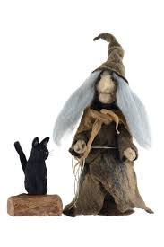 felt witch figurine with black cat fairytale home decor