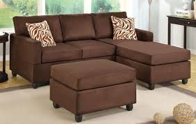 Chaise Lounge Sectional Chocolate Microfiber Sectional Sofa With Reversible Chaise Ottoman