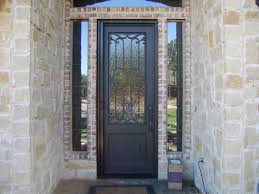 Decorating Amazing Retractable Screen Doors With Brick Wall And