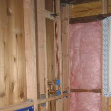 how to build a shower shower mixer and shower head plumbing installed not drop ear elbow attached to plywood blocking