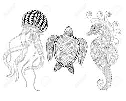 coloring pages henna art hand drawn sea horse jellyfish and turtle for adult coloring